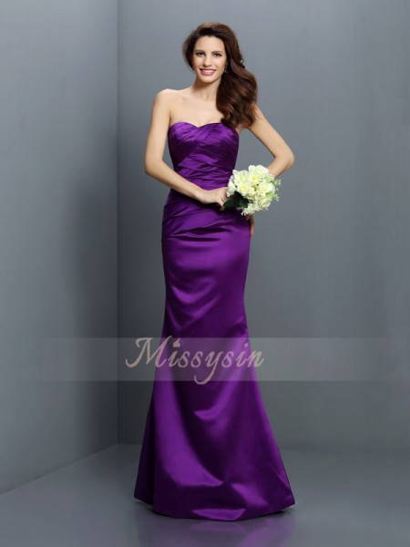 Sleeveless Strapless Satin Long Regency Bridesmaid Dresses