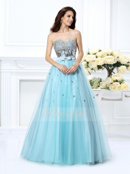 Ball Gown Sleeveless Sweetheart Satin Long Light Sky Blue Dresses