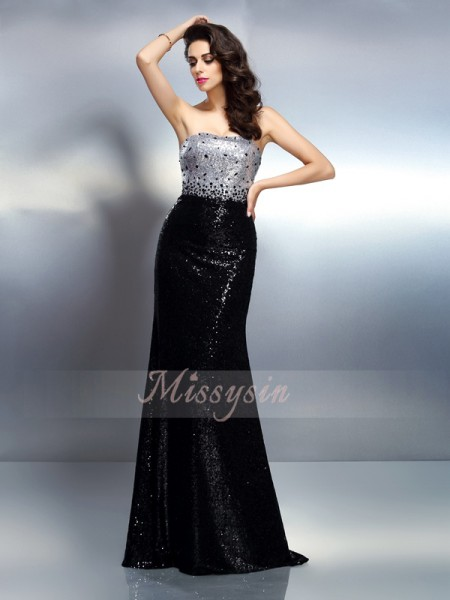 Sleeveless Strapless Sequins Sweep/Brush Train Black Dresses