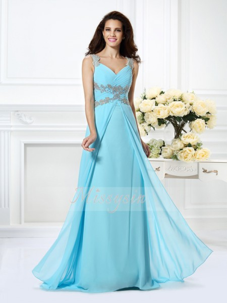 Sleeveless V-neck Chiffon Long Light Sky Blue Dresses
