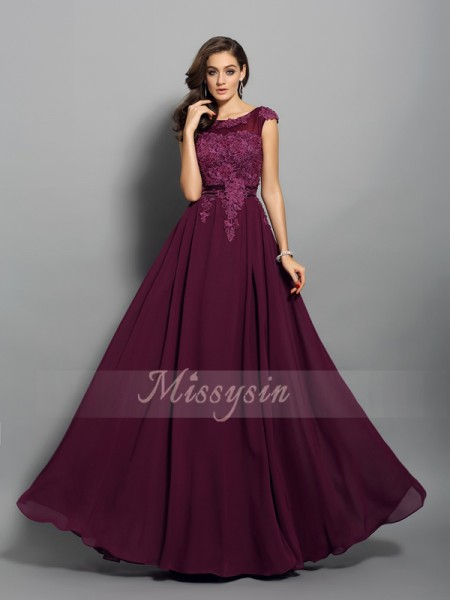 Sleeveless Scoop Chiffon Long Grape Dresses