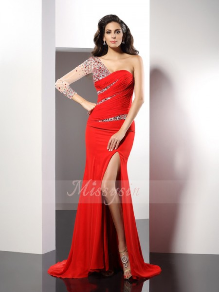 3/4 Sleeves One-Shoulder Chiffon Sweep/Brush Train Red Dresses