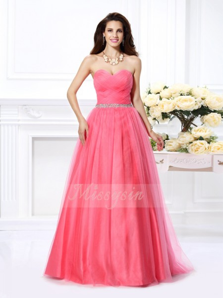 Ball Gown Sleeveless Sweetheart Satin Long Watermelon Dresses