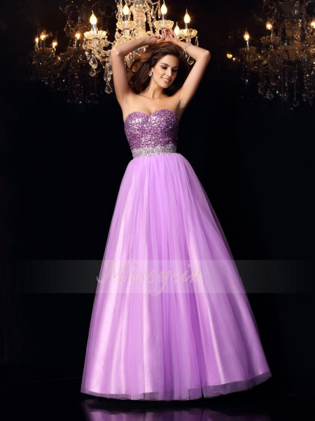 Ball Gown Sleeveless Sweetheart Elastic Woven Satin Long Lilac Dresses