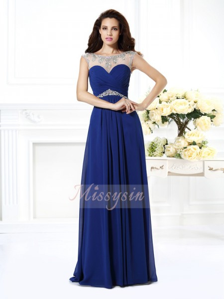 Sleeveless Bateau Chiffon Long Royal Blue Dresses