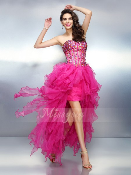 Sleeveless Sweetheart Organza Asymmetrical Pink Cocktail Dresses