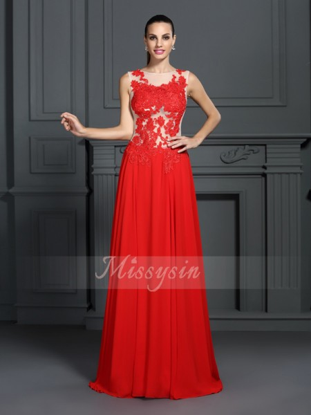 Sleeveless Bateau Chiffon Sweep/Brush Train Red Dresses
