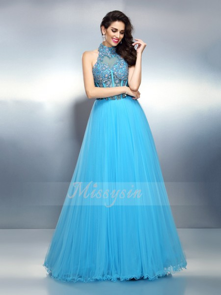 Sleeveless High Neck Satin Long Blue Dresses