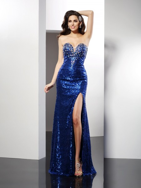 Sleeveless Sweetheart Sequins Long Royal Blue Dresses