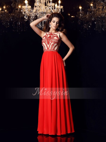 Sleeveless Scoop Chiffon Long Red Dresses