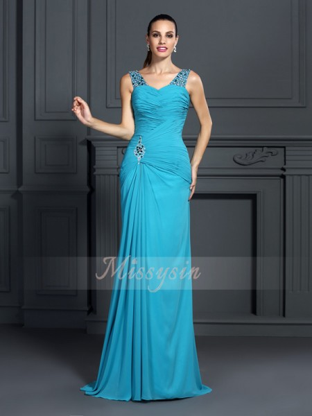 Sleeveless Straps Chiffon Sweep/Brush Train Blue Dresses