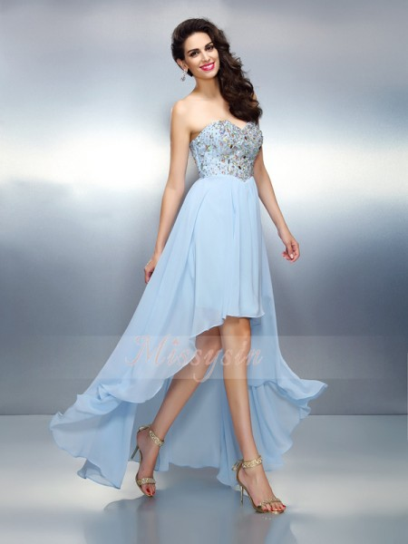 Sleeveless Sweetheart Chiffon Asymmetrical Light Sky Blue Cocktail Dresses