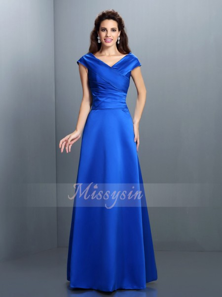 Sleeveless V-neck Satin Long Royal Blue Dresses
