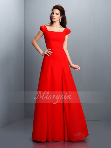 Short Sleeves Bateau Satin Long Red Dresses