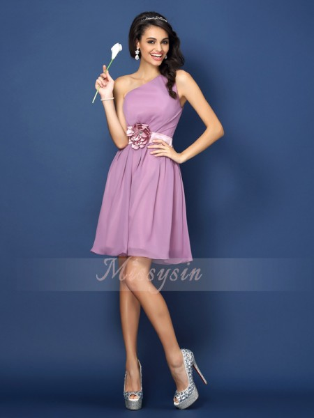 Sleeveless One-Shoulder Chiffon Short/Mini Lavender Bridesmaid Dresses