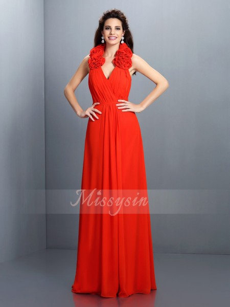 Sleeveless Halter Chiffon Long Red Dresses
