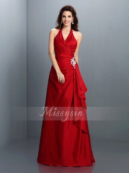 Sleeveless Halter Taffeta Long Red Dresses