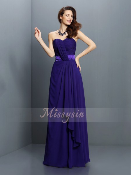 Sleeveless Sweetheart Chiffon Long Regency Bridesmaid Dresses