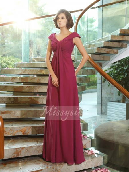 Sleeveless V-neck Chiffon Long Burgundy Bridesmaid Dresses