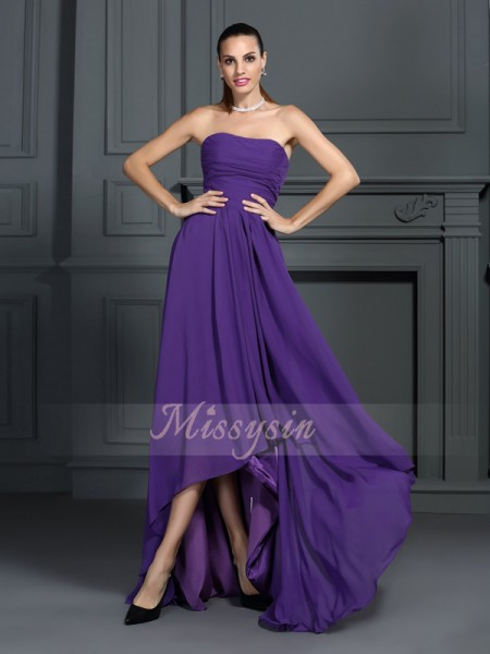 Sleeveless Strapless Chiffon Asymmetrical Regency Cocktail Dresses