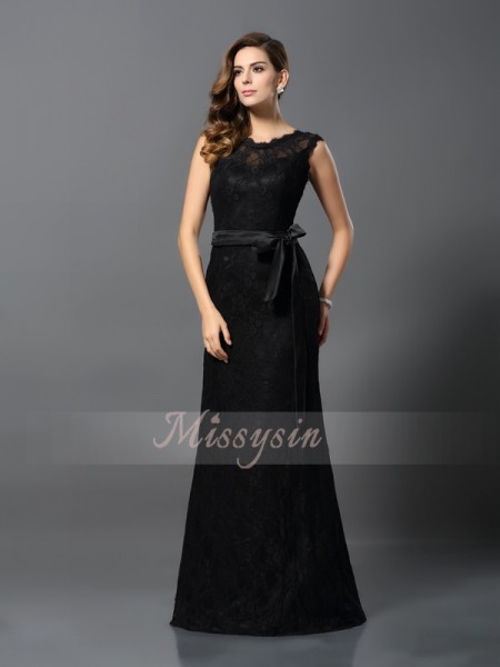Sleeveless Scoop Satin Long Black Dresses