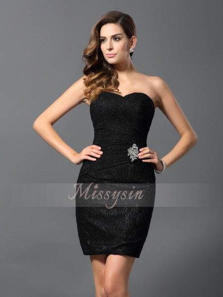 Sleeveless Sweetheart Lace Short/Mini Black Cocktail Dresses