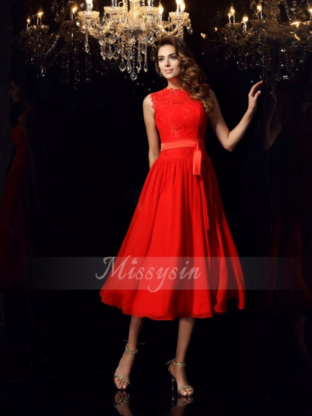 Sleeveless High Neck Chiffon Tea-Length Red Dresses