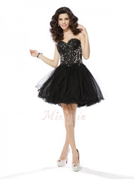 Sleeveless Sweetheart Net Short/Mini Black Cocktail Dresses