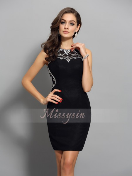 Sleeveless Scoop Chiffon Short/Mini Black Cocktail Dresses