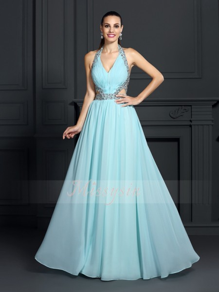 Sleeveless Halter Chiffon Long Blue Dresses