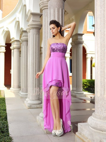 Sleeveless Strapless Chiffon Asymmetrical Fuchsia Cocktail Dresses