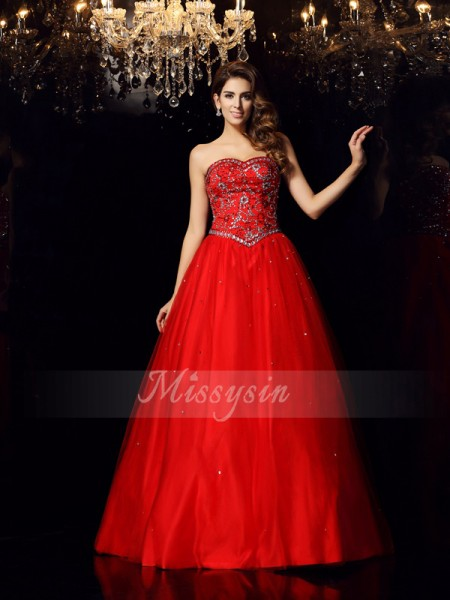 Ball Gown Sleeveless Sweetheart Satin Long Red Dresses