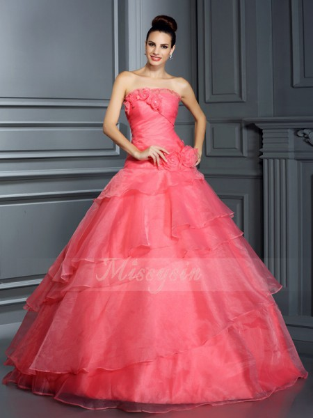 Ball Gown Sleeveless Strapless Organza Long Pink Dresses