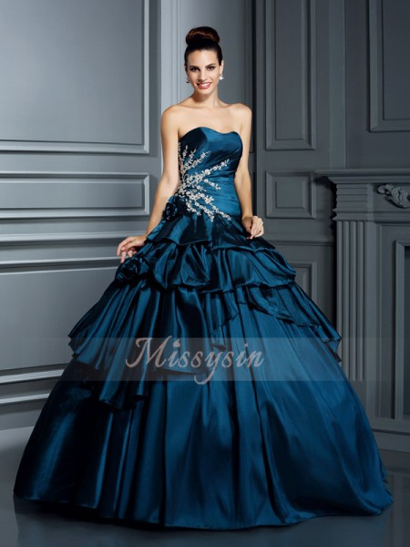 Ball Gown Sleeveless Strapless Taffeta Long Dark Navy Dresses