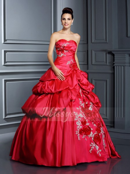 Ball Gown Sleeveless Sweetheart Taffeta Long Red Dresses
