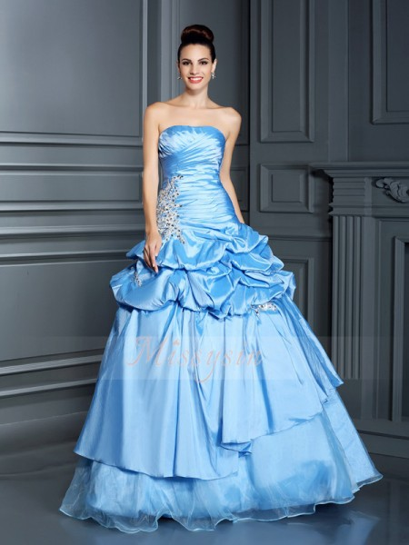 Ball Gown Sleeveless Sweetheart Organza Long Royal Blue Dresses