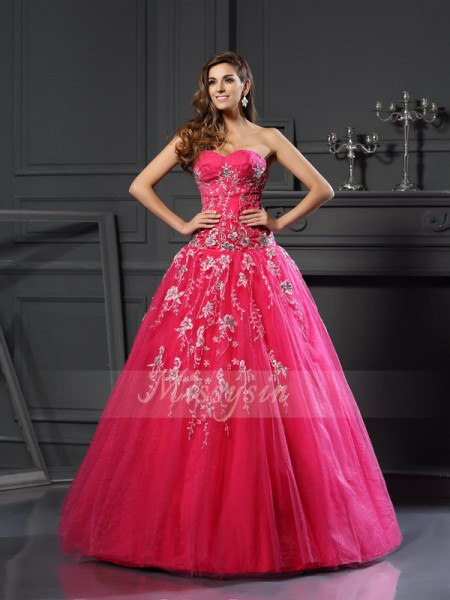 Ball Gown Sleeveless Sweetheart Net Long Fuchsia Dresses