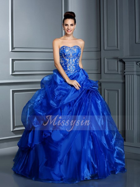 Ball Gown Sleeveless Sweetheart Satin Long Royal Blue Dresses