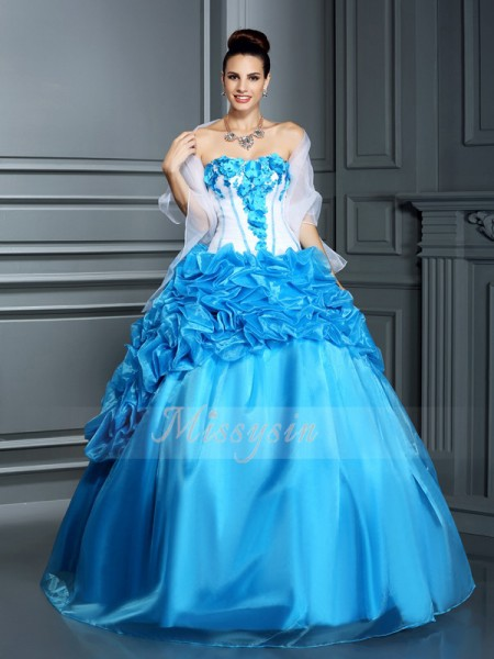 Ball Gown Sleeveless Sweetheart Satin Long Blue Dresses