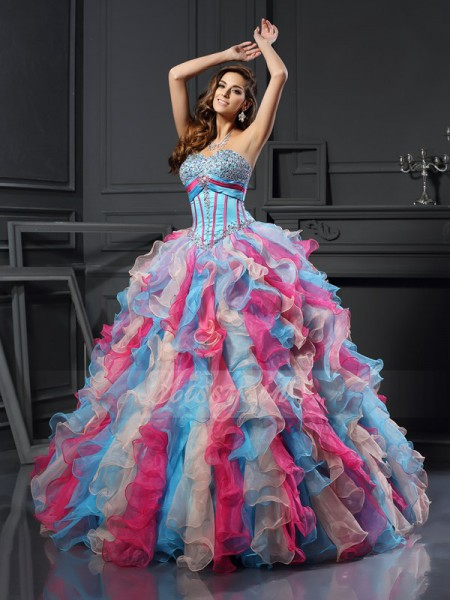 Ball Gown Sleeveless Sweetheart Organza Long Multi Colors Dresses