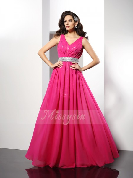 Sleeveless V-neck Chiffon Long Fuchsia Dresses