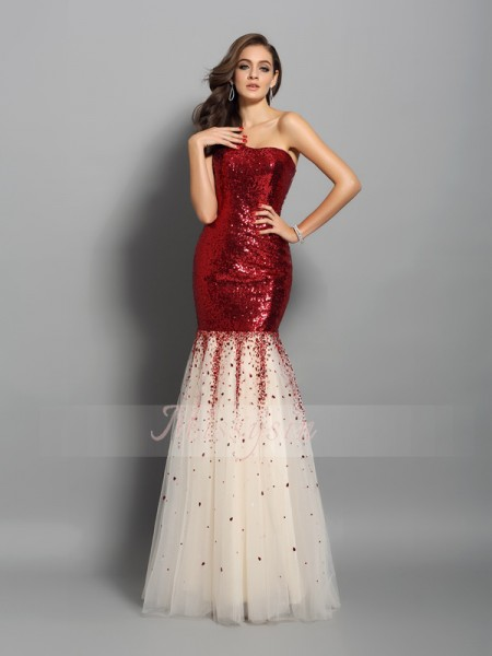 Sleeveless One-Shoulder Sequins Long Red Dresses