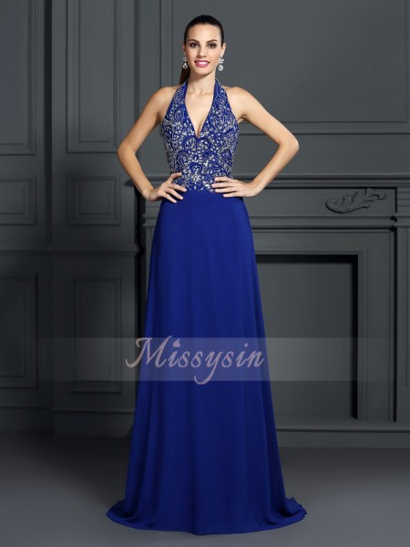 Sleeveless Halter Chiffon Sweep/Brush Train Royal Blue Dresses
