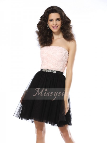Sleeveless Strapless Tulle Short/Mini Black Cocktail Dresses