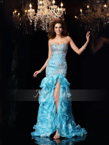 Sleeveless Sweetheart Organza Asymmetrical Blue Dresses