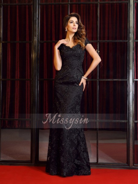 Short Sleeves V-neck Lace Long Black Dresses