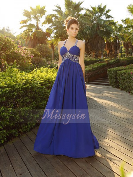 Sleeveless Straps Chiffon Long Royal Blue Dresses