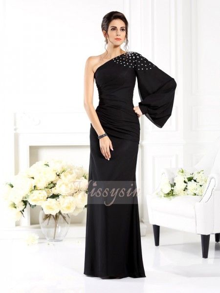 Long Sleeves One-Shoulder Chiffon Long Black Dresses