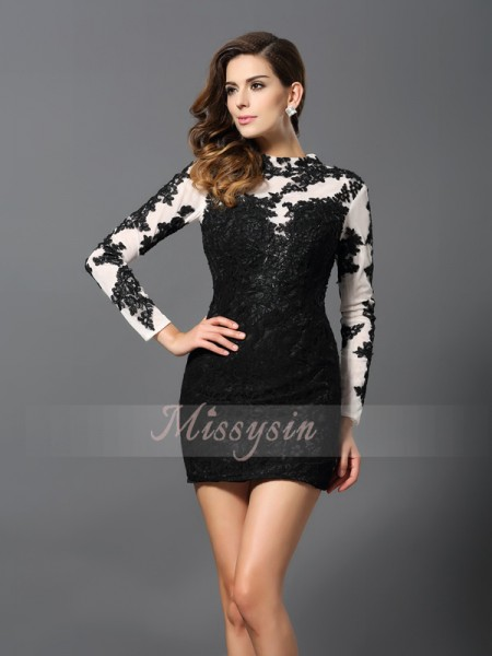 Long Sleeves High Neck Lace Short/Mini Black Cocktail Dresses
