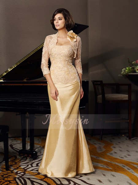 Sleeveless Sweetheart Taffeta Long Champagne Mother of the Bride Dresses